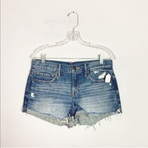 Abercrombie hi rise distressed denim shorts size 6